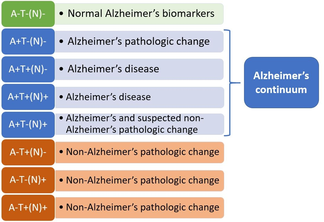 Normal Alzheimer's biomarkers: A-T-(N)-. Alzheimer's continuum consists of three categories: Alzheimer's pathologic change; A+T-(N)-, Alzheimer's disease; A+T+(N)-, A+T+(N)+, and Alzheimer's and suspected non-Alzheimer's pathologic change, A+T-(N)+. Non-Alzheimer's pathologic change: A-T+(N)-, A-T-(N)+, A-T+(N)+.