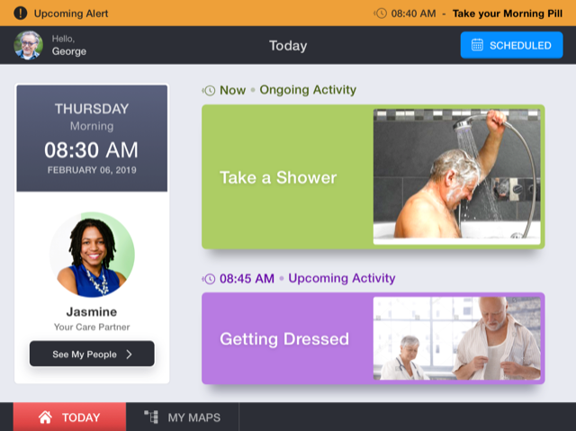 Screen capture of MapHabit care coordination app, showing a schedule with taking a shower (with an image), getting dressed (with an image) as an upcoming activity, the time, the date, and an image of the person's care partner.