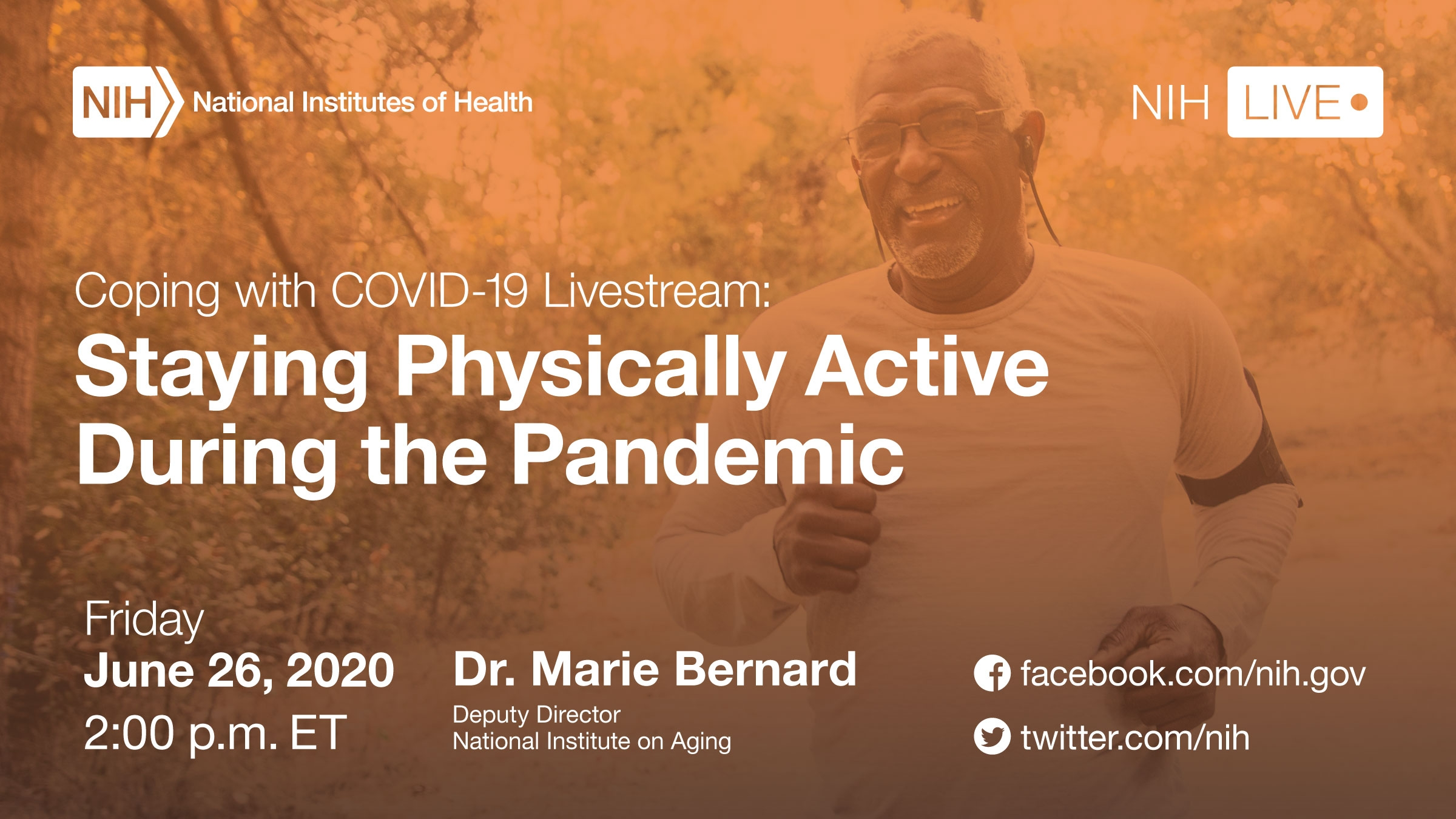 "Man running with text ""Coping with COVID-19 Livestream: Staying Physically Active During the Pandemic"""