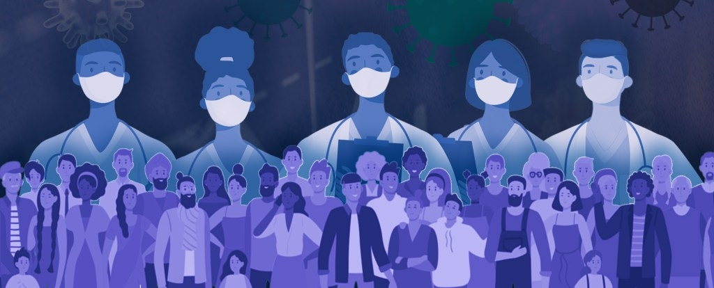 5 animated healthcare workers with masks on standing above a group of animated people
