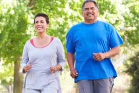 Older Latino adults jogging