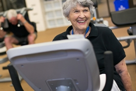 Woman on a stationary bike