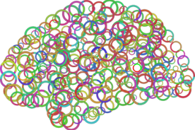 Brain made up of circles, signifying circular R N A