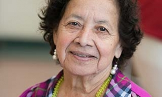 Older hispanic woman smiling