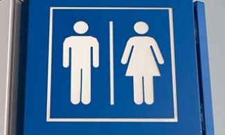 Men and women's restroom sign