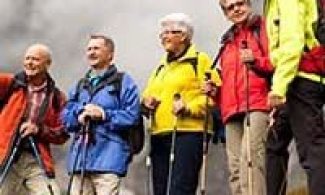group of older adults hiking